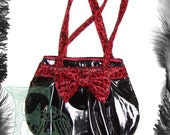 Pvc Leopard Print Bow HandBag Rockabilly Available in red or pink leopard