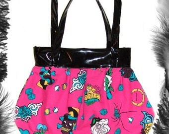 Tattoo Print and Pvc Handbag, Rockabilly, Available in 3 Colours