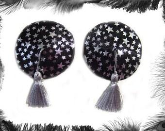 Stars Nipple Tassels, Burlesque Wear, silver and black satin