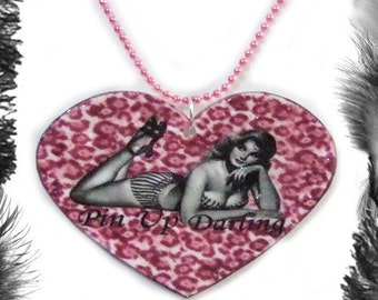 Pin Up Model Leopard Print Heart Necklace