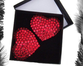 Rhinestone Heart Burlesque Pasties, Burlesque Wear, available in Red, Pink, Purple, Silver or Black