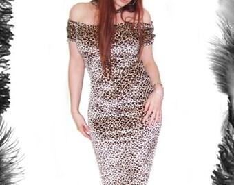 Leopard Print Wiggle Dress, SALE Rockabilly Pin Up