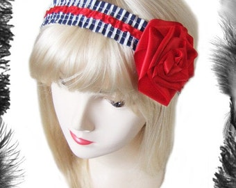 Nautical Stripe and Rose Hair Band, Rockabilly