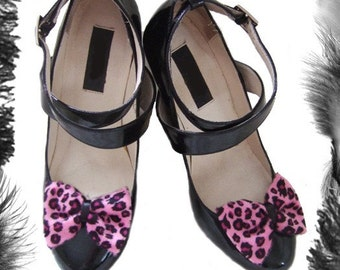 Leopard Print Bow Shoe Clips, Rockabilly, available in 3 colours