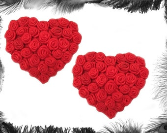 Satin Rose Heart Nipple Pasties, Couture Burlesque Wear, available in red, white or black