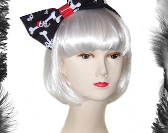 Pirate Skulls Big Hair Bow, gothic, lolita