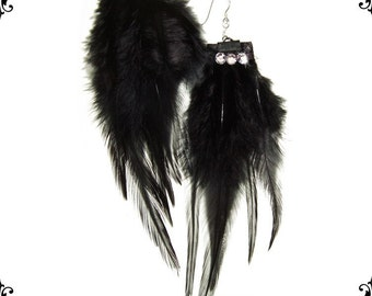 Feather and Swarovski Burlesque Couture Earrings