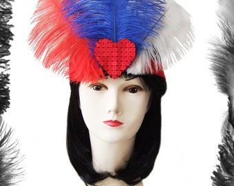 Ostrich Feathers Sequin Heart Burlesque Headdress, many colors available