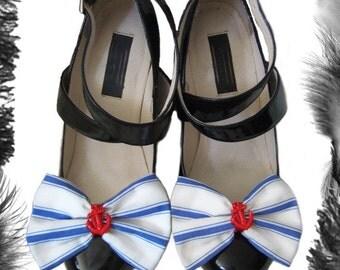 Nautical Stripe Bow Anchor Shoe Clips, Sailor, Rockabilly