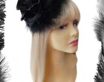 Black Rose and Feather Fascinator
