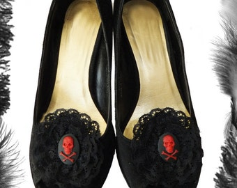 Skull and Lace Shoe Clips, Gothic, Lolita, in many colours