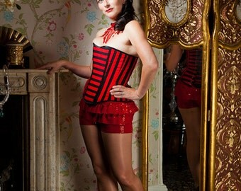 SALE Stripe Corset, Circus, Pirate, Steampunk Style