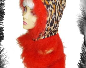 Leopard Print & Fur Hood Scarf, Snood, many colours