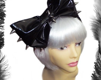 Pvc and Spikes Big Hair Bow Headband in Black or Red.