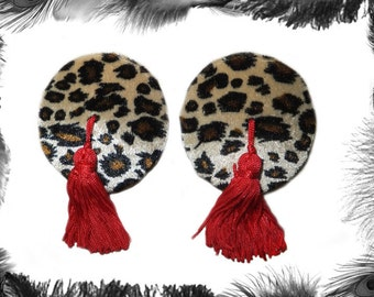 Leopard Print Nipple Tassels, Burlesque, Rockabilly, 3 sizes, 3 colours