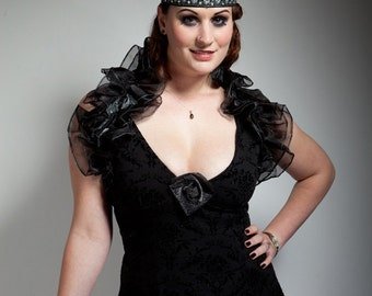 Glitter Rose Ruffle Shrug, Burlesque, Elegant Party Wear in silver black or gold black.