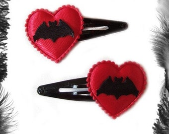 Satin Heart and Bat Hair Clips, Gothic, Rockabilly