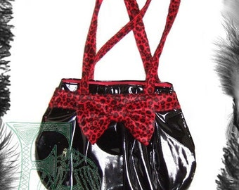 Pvc Leopard Print Bow HandBag, Rockabilly, Available in red or pink leopard