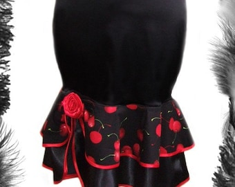 Satin Cherries Ruffle Skirt, Rockabilly, Dita,  All Sizes.