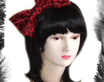 Big Hair Bow Leopard Print, Rockabilly, available in red or pink leopard print