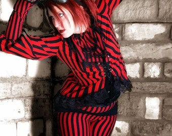 Stripes and Lace Gothic Lolita Steampunk Pirate Jacket, in red black or white black