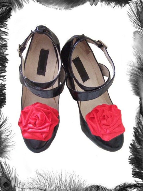 Large Satin Rose Shoe Clips, Burlesque Style, available in many colours