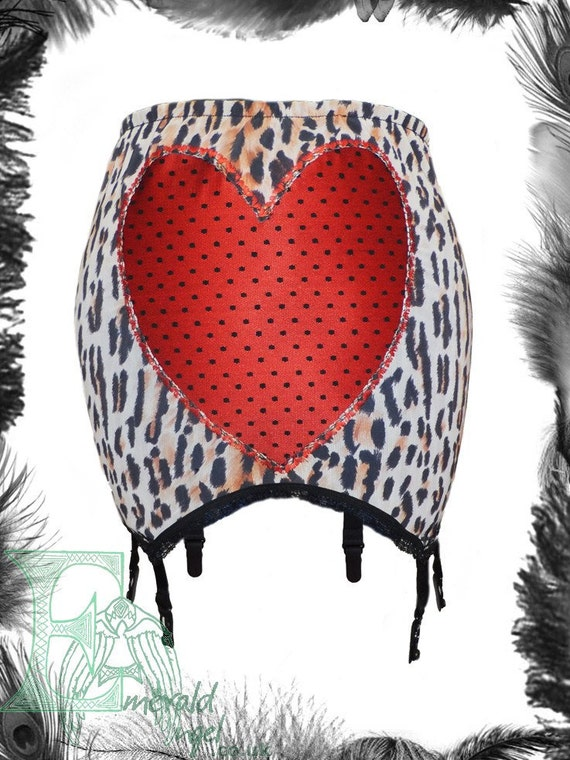 Leopard Print & Satin Polka Dot Heart Girdle, Garter Belt. Pin Up, Vintage style.