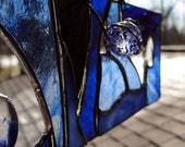 Blue Winter Stained Glass Panel  NOW 20% OFF