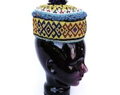 Vintage Beaded Hat, Afghanistan-Kuchi, Yellow Beads