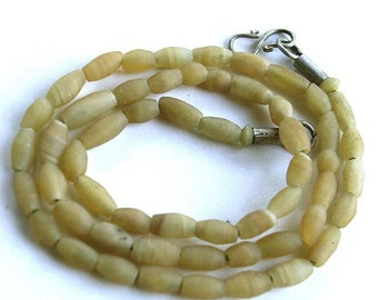 Blonde Onyx Fat Rice Bead Strand, 8 mm, Natural and Handcut