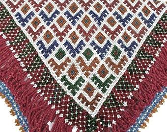 Afghanistan- Kuchi Beaded Amulet, Large Triangle, Item 7