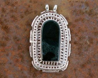 Black Onyx Pendant: Afghanistan, Vintage Sterling Silver, N43