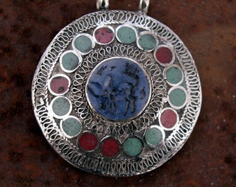 Afghanistan, Vintage Pashtun Sterling Silver Medallion Pendant, Lapis Lazuli Bull, Item 40