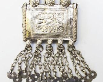 Vintage Kuchi Pendant: Afghanistan, Taweez with Dangles, 65