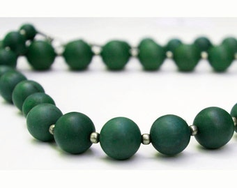 "Green Serpentine 17"" Bead Strand, Graduated Rounds, Natural and Handcut, SERP3"