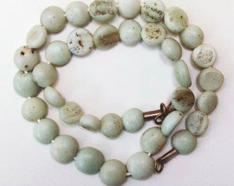 Antique Persian Beads:  Sandcast White from Ghazni, Afghanistan- Item 10