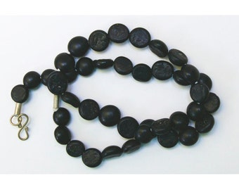 Antique Glass Beads:  Sandcast Black from Ghazni, Afghanistan- Item 3