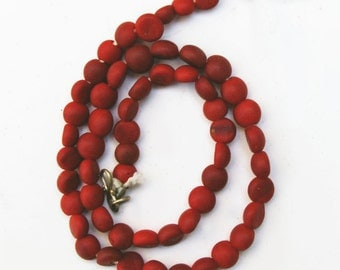 Antique Glass Beads:  Sandcast Red from Ghazni, Afghanistan- Item 1