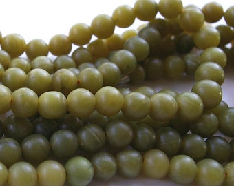 Jade Bead Strand, Shahmaqsud 8 mm Round, Natural and Handcut