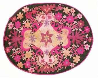 Vintage Embroidered Textile, Uzbek Suzani Silk Wedding Saddle Cover