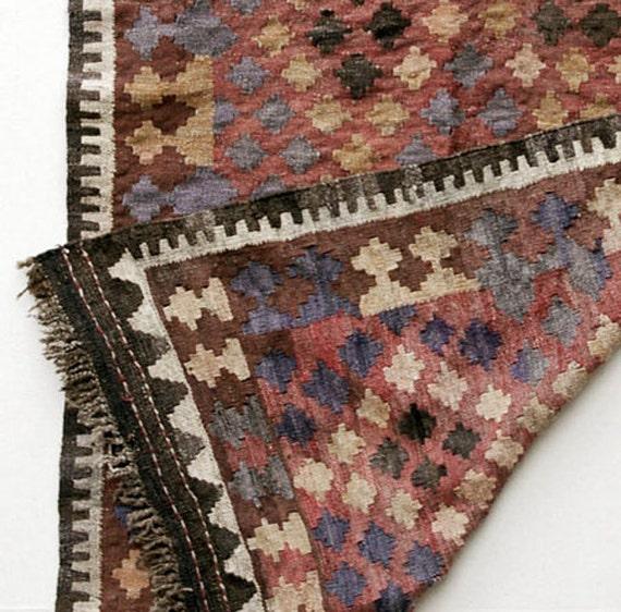 Kilim Wool Rug, Handwoven Maymana Weaving- Afghanistan, Item 3