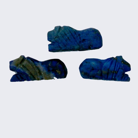 Lapis Lazuli Bead Packet: Three Hand Carved Lions, LBP1