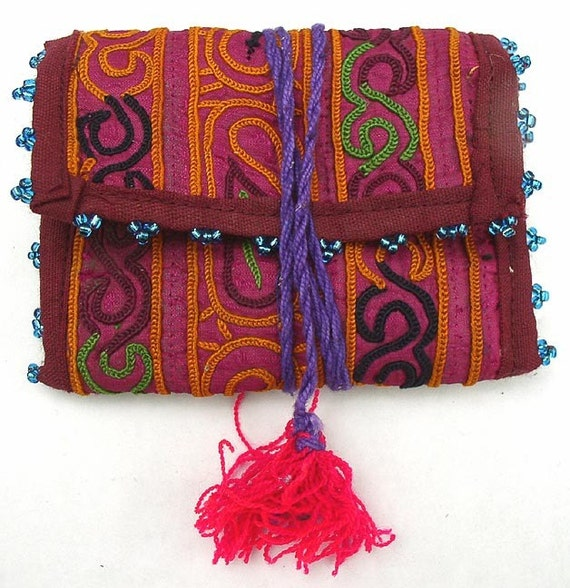 Afghanistan, Vintage Pashtun Embroidered Pouch 2