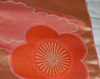 Vintage Japanese Fabric - Futon Synthetic with Plum Blossoms and Woven Shibori Clouds
