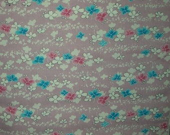 Vintage Kimono Wool - Lavendery Pink with Turquoise and Rose Posies