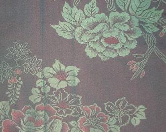 Vintage Kimono Silk - Roses on Red Black Irridescent Urushi