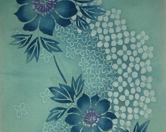 Vintage Kimono Cotton - Clematis in Green on Mint Green