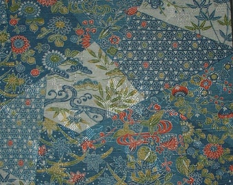 Vintage Kimono Wool - Chrysanthemum - Pine - Plum - Traditional Motifs on Bluegreen