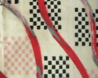 Vintage Kimono Silk - Checkerboard Meisen with Ribbons