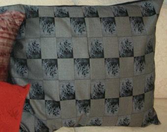 Pillow - Wool - Vintage Kimono Wool  - Grass Design - Cotton Back